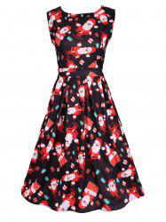 Santa Print Sleeveless Flare Dress - BLACK 2XL