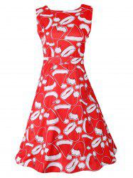 Santa Hat Print Sleeveless Flare Dress