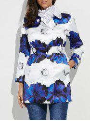Belted Flower Print Trench Coat -