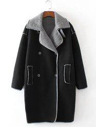 Faux Shearling Panel Suede Cocoon Coat - BLACK L