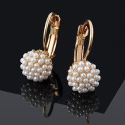 Artificial Pearl Beads Ball Earrings - GOLDEN