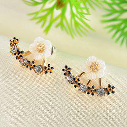 Rhinestone Flower Pierced Earrings