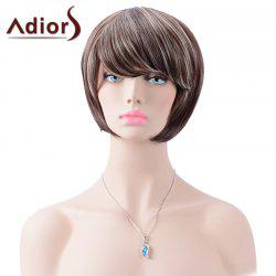 Adiors Short Inclined Bang Highlight Straight Bob Synthetic Wig