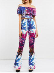 Tropical Print Cropped Top with Flared Pants -