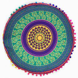 Retro Sofa Totem Print Pompon Round Floor Cushion Pillow Case