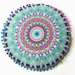 Retro Sofa Lightning Totem Print Pompon Round Floor Cushion Pillow Case