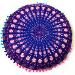 Sofa Mandala Feather Print Pompon Round Floor Cushion Pillow Case - DEEP PURPLE