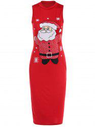 Sleeveless Santa Clause Print Midi Tank Dress - RED XL