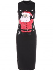 Sleeveless Santa Clause Print Midi Dress