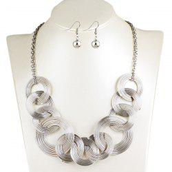 Hollowed Circle Metallic Jewelry Set - SILVER