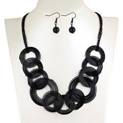 Hollowed Circle Metallic Jewelry Set - BLACK