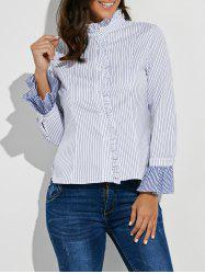 Button Up Ruffle Stripe Shirt -