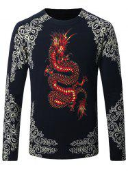 Thicken Dragon and Floral Pattern Sweater