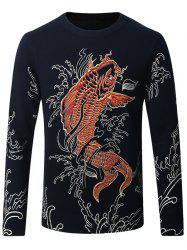 Thicken 3D Koi Pattern Sweater