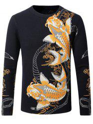 3D Kois Pattern Crew Neck Sweater -