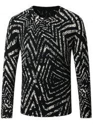Thicken 3D Geometric Long Sleeve Sweater - BLACK 4XL