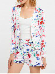 Floral Print Business Suit with Shorts - WHITE S