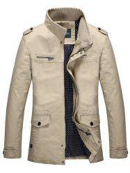 Stand Collar Epaulet Design Pocket Zippered Jacket