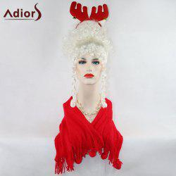 Adiors Long Curly Full Bang Party Christmas Synthetic Wig - WHITE