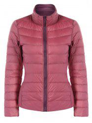 Quilted Zip Up Stand Collar Reversible Jacket