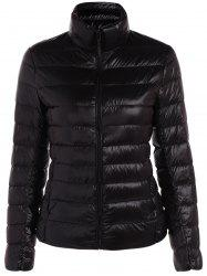 Quilted Zip Up Stand Collar Jacket