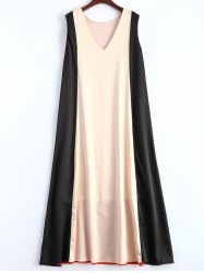 V Neck Color Block Trapeze Maxi Dress