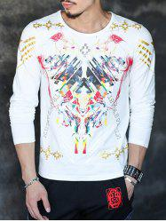 Round Neck Long Sleeve All Over Printed Tee