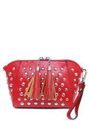 PU Leather Rivet Tassels Clutch Bag - RED