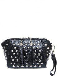 PU Leather Rivet Tassels Clutch Bag