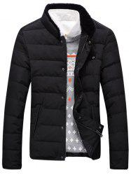 Stand Collar Flocking Spliced Zip Up Down Jacket