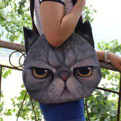 Cat Head Shaped 3D Print Shoulder Bag - GRAY