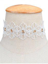 Openwork Lace Floral Choker Necklace - WHITE