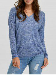 V-Neck Long Sleeve Knitted Tee