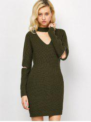 Choker Neck Short Sheath Fitted Sweater Dress - ARMY GREEN 2XL
