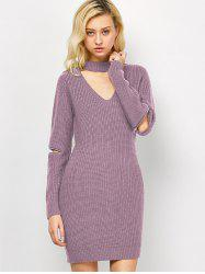 Choker Neck Mini Fitted Sweater Dress - PINK
