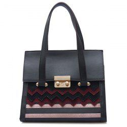 Stripes Zigzag Handbag - RED