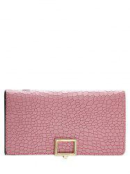 Stone Pattern Tri Fold Long Wallet - PINK