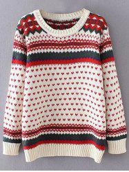 Heart Print Plus Size Sweater - OFF-WHITE