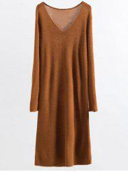 Stretchy Long Sleeve Midi Jumper Dress