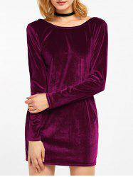 Velvet Long Sleeve Backless Bodycon Dress