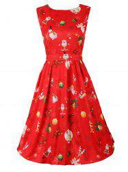 Belted Christmas Print Skater Dress - RED