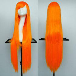 Overlength Oblique Bang Glossy Straight Synthetic Cosplay Anime Wig -