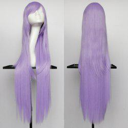 Overlength Oblique Bang Glossy Straight Synthetic Cosplay Anime Wig - LIGHT PURPLE