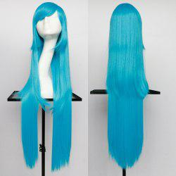 Overlength Oblique Bang Glossy Straight Synthetic Cosplay Anime Wig - TURQUOISE