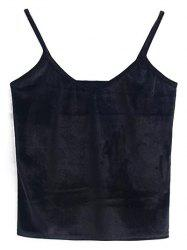 Cami Cropped Velvet Tank Top - BLACK ONE SIZE