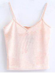 Cami Cropped Velvet Tank Top - PINK ONE SIZE