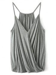 Spaghetti Straps Wrap Top - GRAY