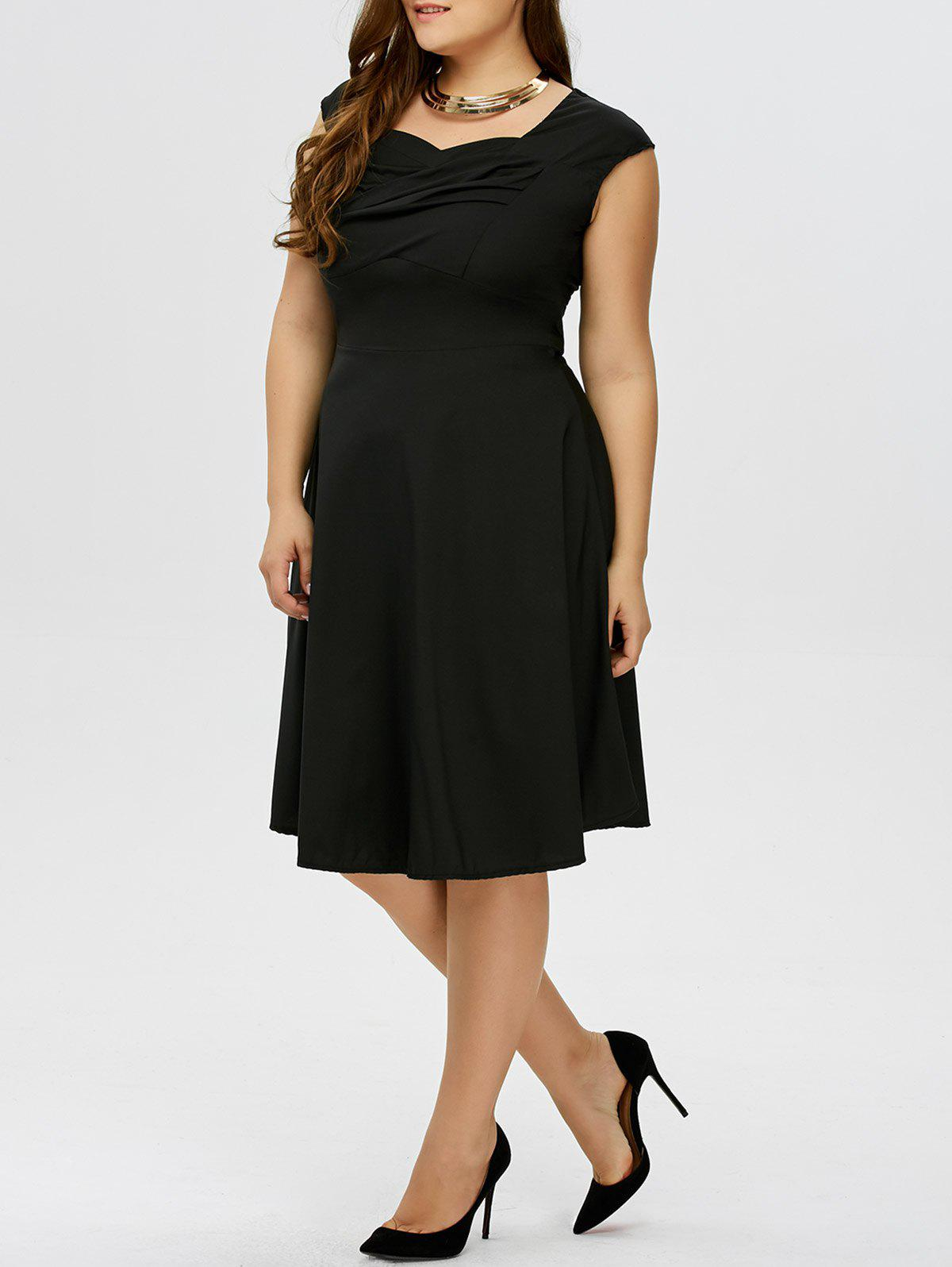 Fashion Plus Size Vintage Ruched Swing Dress