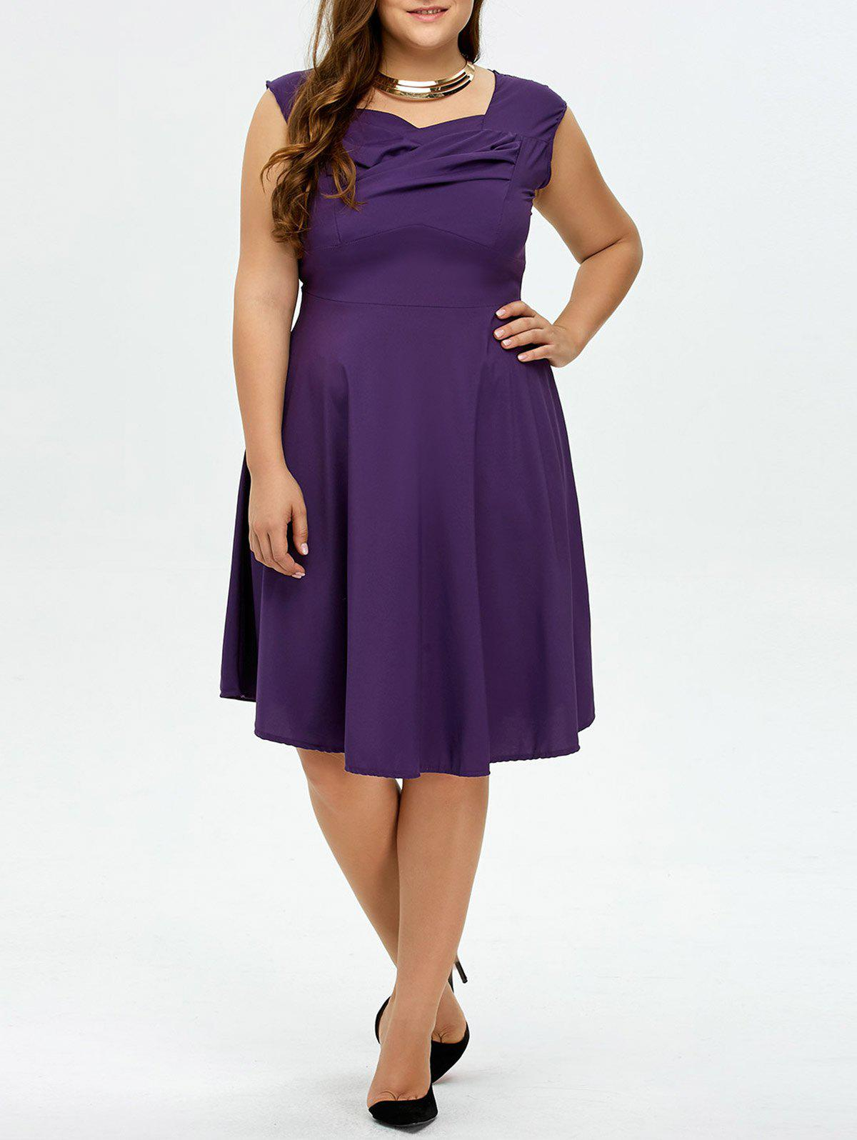 453a5be2e796 2018 Plus Size Vintage Ruched Swing Dress In Deep Purple 4xl ...