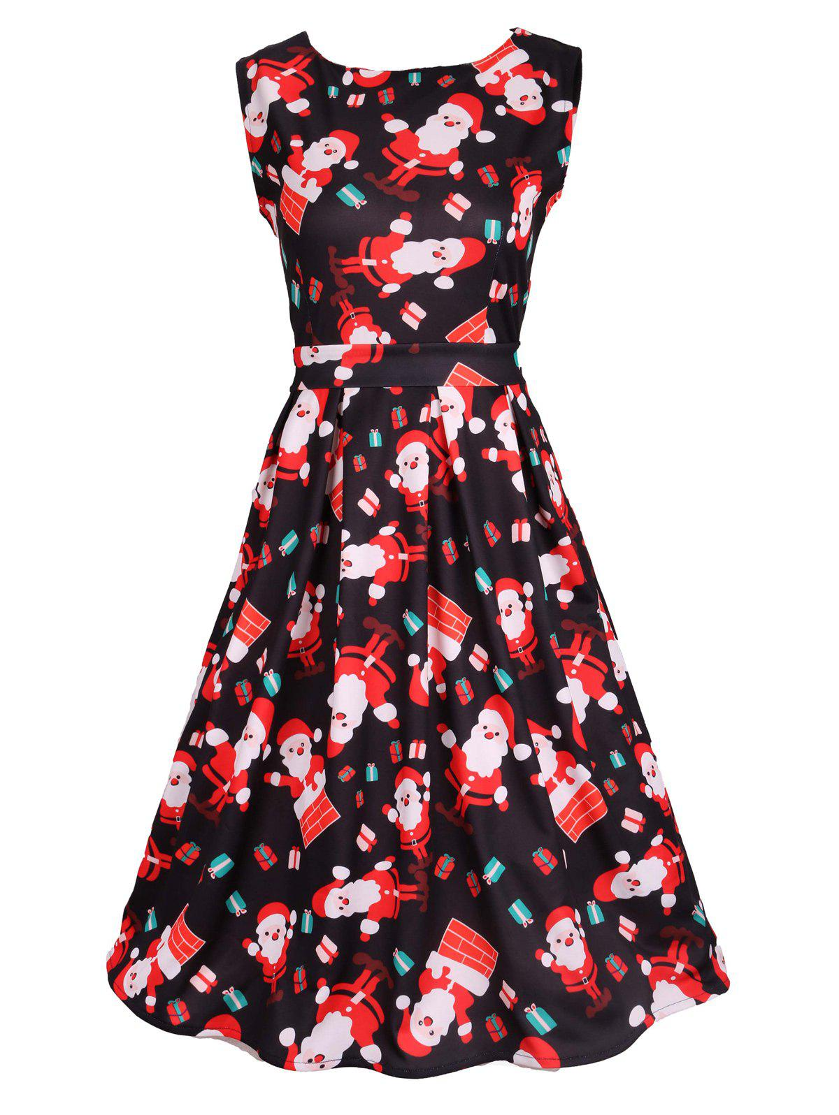 Santa Print Sleeveless Flare DressWOMEN<br><br>Size: 2XL; Color: BLACK; Style: Vintage; Material: Cotton Blend,Polyester; Silhouette: A-Line; Dresses Length: Knee-Length; Neckline: Scoop Neck; Sleeve Length: Sleeveless; Pattern Type: Print; With Belt: Yes; Season: Fall,Spring,Summer; Weight: 0.3700kg; Package Contents: 1 x Dress  1 x Belt;